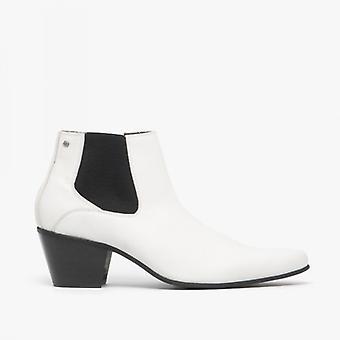Club Cubano Mccartney Mens Leather Winklepicker Cuban Heel Boots White