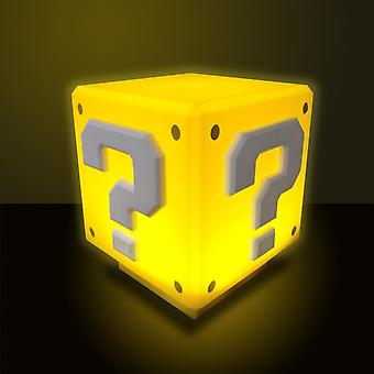 Super Mario table lamp mini question mark block yellow-orange, made of plastic, with sound, comes in gift box.