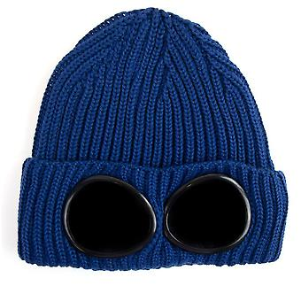 CP Company Extra Feine Merino Wolle Brille Winter Beanie Blau 879
