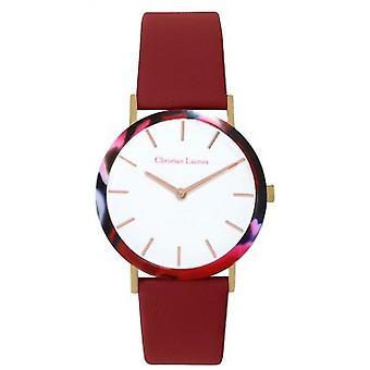 Uhr Christian Lacroix CLW008 - Stahl Stahl rosa Leder Armband rot Nacr Damen