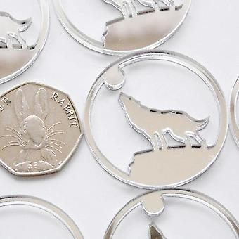 Howling Wolf in Circle Mini Craft Sized Acrylic Mirrors (10Pk)