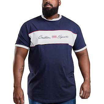 Duke D555 Mens Cullen Big Tall Casual Crew Neck Short Sleeve T-Shirt Top  - Navy