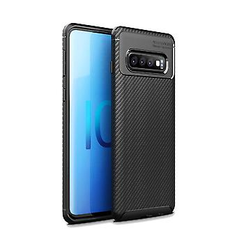 Per samsung Galaxy S10 custodia 5G, armour Cover Carbon Fiber Texture Sottile, Nero