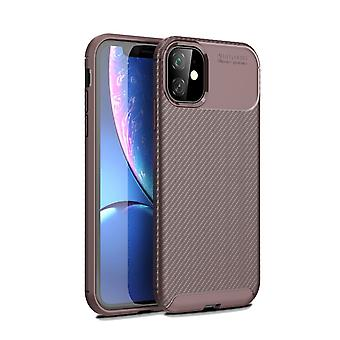 For iPhone 11 Case Brown Carbon Fibre Texture Protective Shockproof Back Cover with Camera Protection