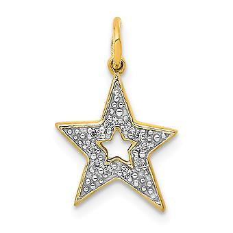 14k Diamond Star Charm Pendant Necklace Jewelry Gifts for Women - .05 dwt