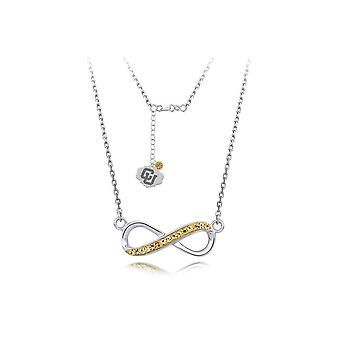 925 Sterling Silver Rhodium Plated Spirit Infinity Necklace University Of Colorado 18 Inch Jewelry Gifts for Women