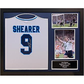Inghilterra FA Sheraer Camicia Firmata (Incorniciato)