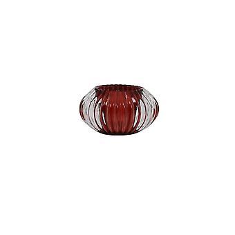 Light & Living Tealight 11x6.5cm - Pertu Clear Glass And Burgundy
