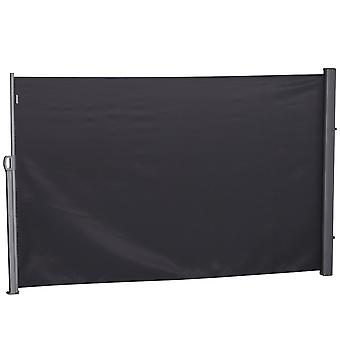 Outsunny Retractable Sun Side Awning Screen Fence Patio Garden Wall Balcony Screening Panel Outdoor Blind Privacy Divider (3x1.6M, Grey)