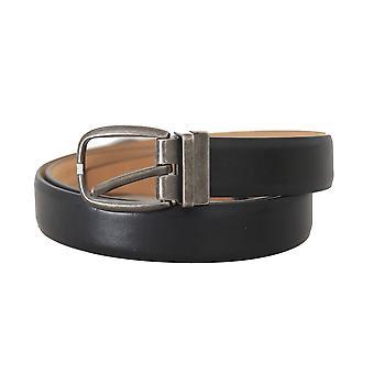 Dolce & Gabbana Black Leather Brushed Buckle Mens Belt