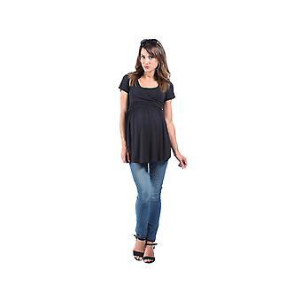 The Essential One Black Short Sleeve Wrap Tie Nursing Top