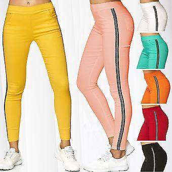 Womens Treggings Contrast Side Stripes Pants Trackpants Stretch Skinny Tube