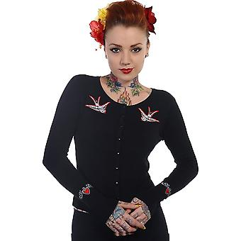 Banned - white swallows - womens  - long sleeve cardigan