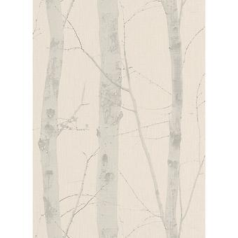 Erismann Paradision Textured Birch Tree Glitter Pattern Modern Nature Beige Light Grey Wallpaper