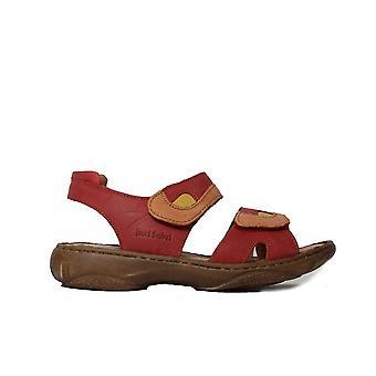 Josef Seibel Debra Red Leather Womens Rip Tape Sandals