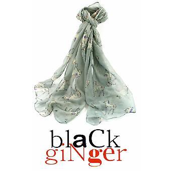 Black Ginger  Grey Scarf with Pastel Unicorn Design