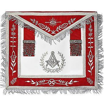 Masonic lodge master mason silver machine embroidery  apron