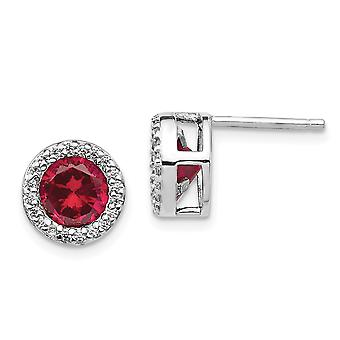 9mm Cheryl M 925 Sterling Silver Simulated Ruby and Cubic Zirconia Post Earrings Jewelry Gifts for Women