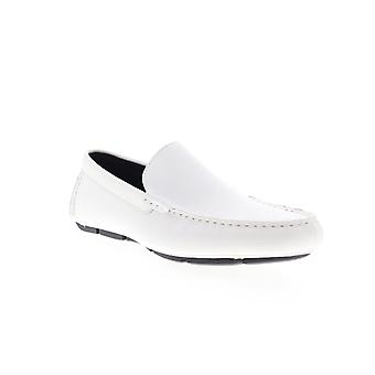 Calvin Klein Kaleb  Mens White Leather Casual Slip On Loafers Shoes