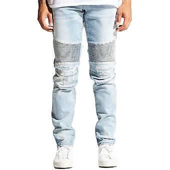 Embellish Erwin Biker Denim Jeans Light Blue