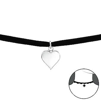 القلب - 925 الجنيه الاسترليني فضة + المخملية الخانقات - W33983x