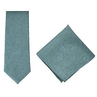 Michelsons Londyn kwiecisty jedwabne żakardowe krawat i Pocket kwadratowych zestaw - turkusowy