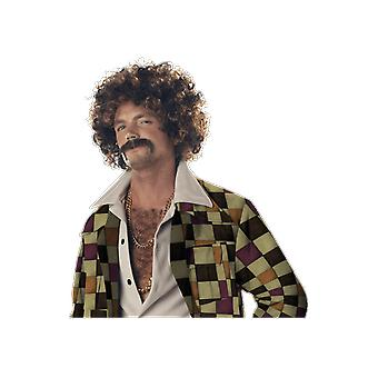 Mens Brown & Blonde Wig and Moustache Decades Fancy Dress Costume Accessory