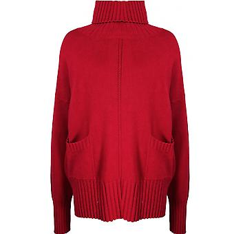 Yellow Label Red High Neck Oversized Jumper