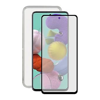 Gehard glas mobiele screenprotector + mobiele case Samsung Galaxy A51 Contact