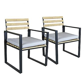 Charles Bentley Industrial Slatted Polywood and Strong Extrusion Aluminium Pair of Chairs Black with 5cm Thick Cushion ideal for Dining Outside