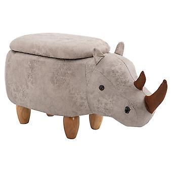 HOMCOM Rhino Storage Stool Cute Decoration Footrest Wood Frame Legs w/ Padding Lid Ottoman Animal Furniture Grey 36x70cm