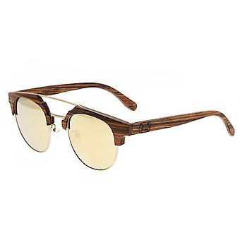 Earth Wood Kai Polarized Sunglasses - Brown Stripe/Gold