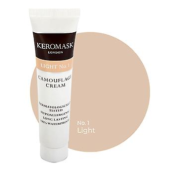 Keromask Full Cover Concealer | 24 Shades | Covers Vitiligo, Rosacea, Scars, Tattoos | Waterproof Camouflage Makeup | Light No 1 | 15ml
