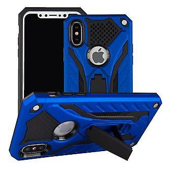 Für iPhone XS & X Fall, Rüstung stark stoßfest Robust Cover Kickstand, blau