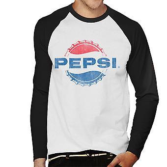 Pepsi 1960s Distressed Bottlecap Logo Men's Baseball Long Sleeved T-Shirt