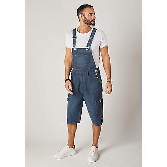 Blake mens cargo pocket denim bib overall shorts - midwash