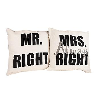 AK4245-SET, Danya B. Mr. Right and Mrs. Always Right Decorative Quote Accent Throw Pillows A Unique Couples Gift Idea
