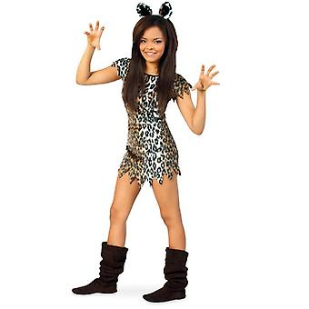 Kissa Wildcat Minka Tyttö Puku Leopard Kivikauden Neanderthal Puku