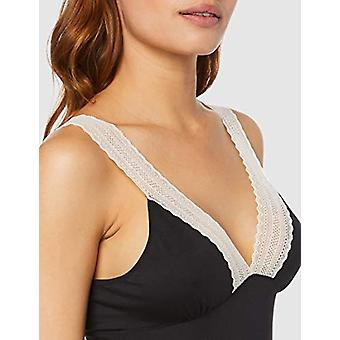 Iris & Lilly Women's Modal Nightgown with Contrast Lace, (Black), EU L (US 10)