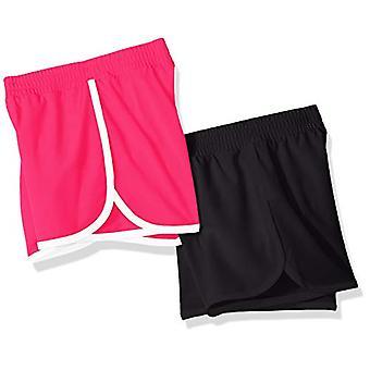 Essentials Big Girls' 2-Pack Active Running Short, Schwarz/Himbeere, M