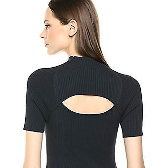 Brand - Lark & Ro Women's Matisse Half Sleeve Funnel Neck Cut Out Dress, Dark Navy, Medium