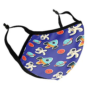 Space Rocket Pattern Kid's Reusable Fabric Face Mask