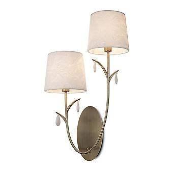 Inspired Mantra - Andrea - Wall Light, 2 x E14 (Max 20W), Antique Brass, White Shades, White Crystal Droplets