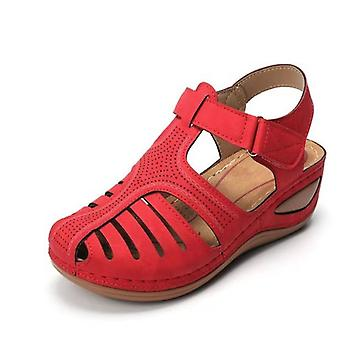 Women's Leather Vintage Sandals  Summer Ladies Casual Buckle Shoes