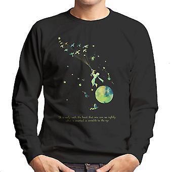 The Little Prince Paint Splat Heart Quote Men's Sweatshirt