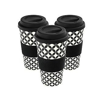 Reusable Coffee Cups - Bamboo Fibre Travel Mugs with Silicone Lid, Sleeve - 400ml (14oz) - Circles - Black - x3