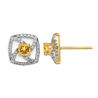 3/10 Carat (ctw) Citrine Earrings in 14K Yellow Gold with Diamonds 1/5 carat (ctw)