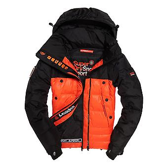 Superdry Super Canadian Ski Down Puffer Jacket - Black / Orange