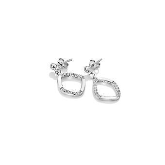 Diamantes calientes plata de ley contempla blanco topaz pendientes DE646