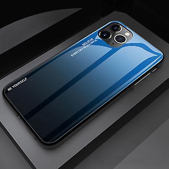 דברים מאושרים® iPhone 11 Pro מקרה הדרגתי - TPU וזכוכית 9H - כיסוי מארז מבריק עמיד לזעזועים Cas TPU כחול